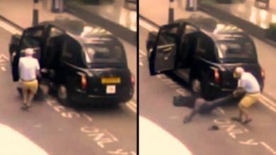 Photo of انظر إلى سائق التاكسي في لندن وهو ينتشل الراكب ويسحله (فيديو)