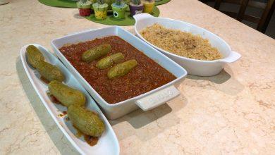 Photo of كوسا محشي رز ولحم مطبوخ بمسقعة البندوره ثلاث أطباق منوعه للعزايم (فيديو)